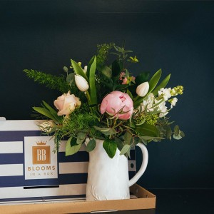Peonies, tulips, roses, stocks and eucalyptus letterbox flowers with Blooms in a Box shop now