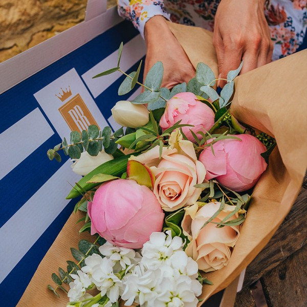 Peonies, tulips, roses, stocks and eucalyptus letterbox flowers with Blooms in a Box post box delivery